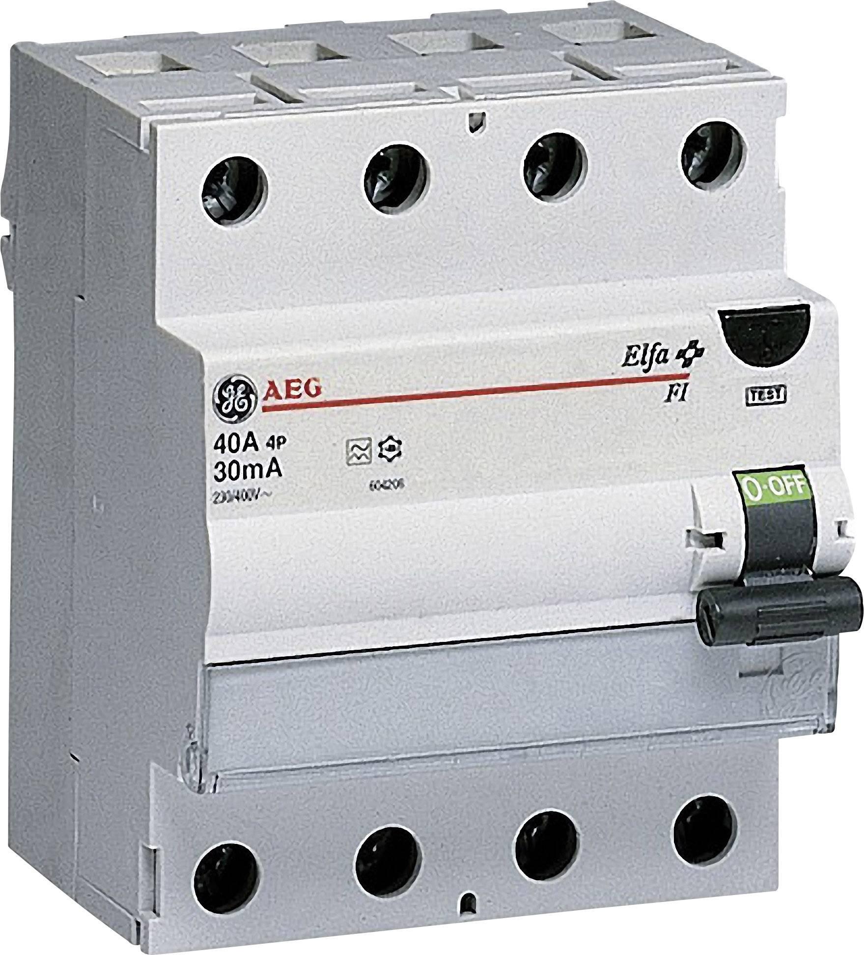 Proudový chránič General Electric 604208, 4pólový, 40 A, 0.03 A, 400 V