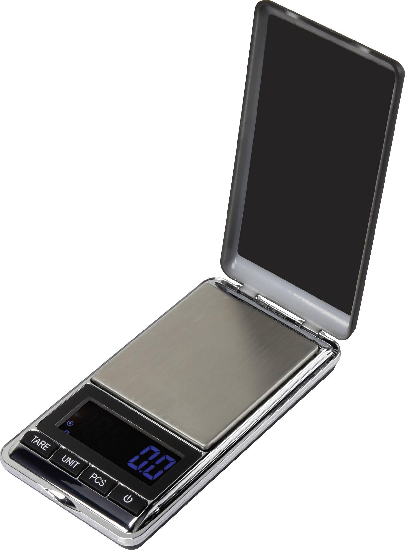 Kapesní váha Basetech , Max. váživost 500 g, Rozlišení 0.1 g, na baterii, stříbrná
