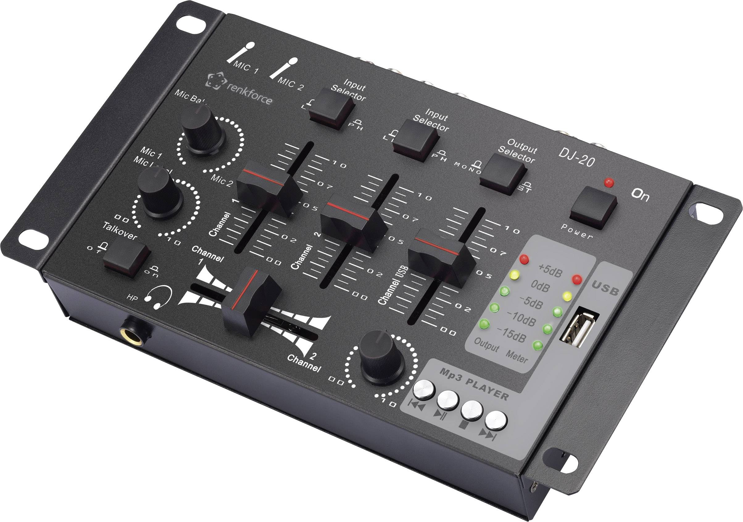 DJ mixážny pult Renkforce DJ20, 2-kanálové stereo, USB vstup