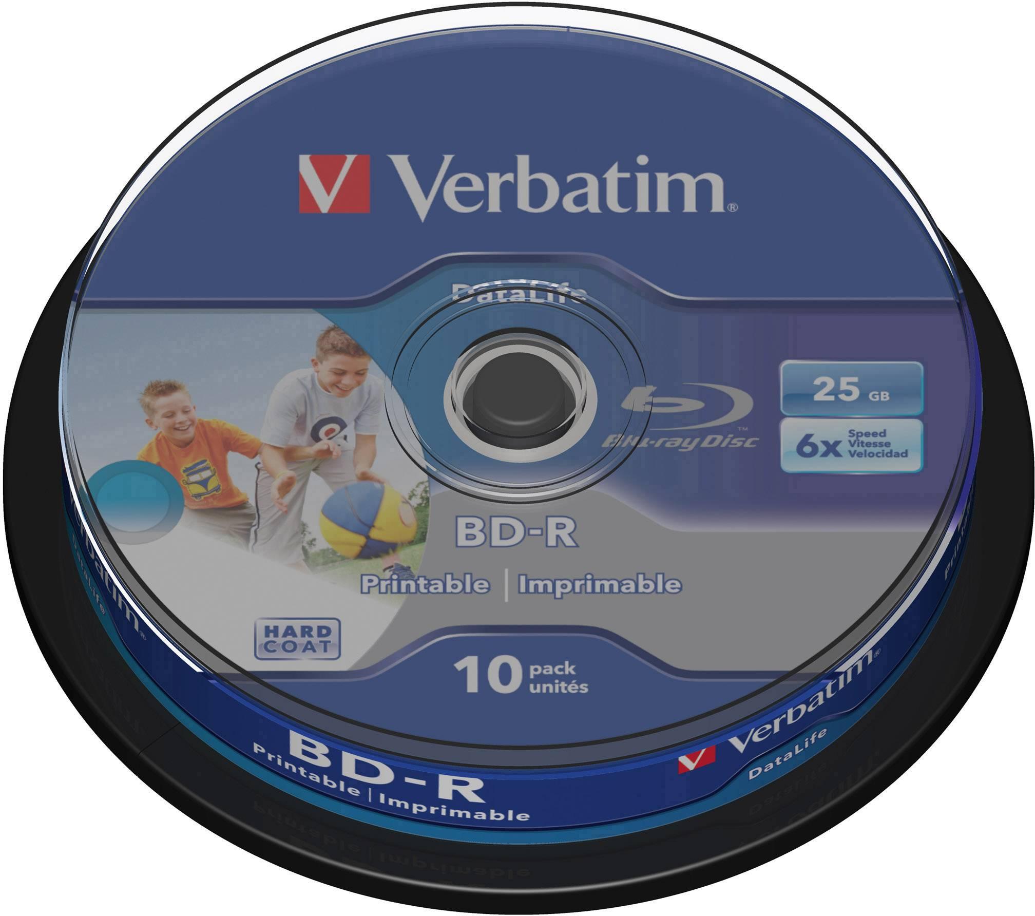 Blu-ray BD-R 25 GB Verbatim vřeteno, 43804, s potiskem, 10 ks