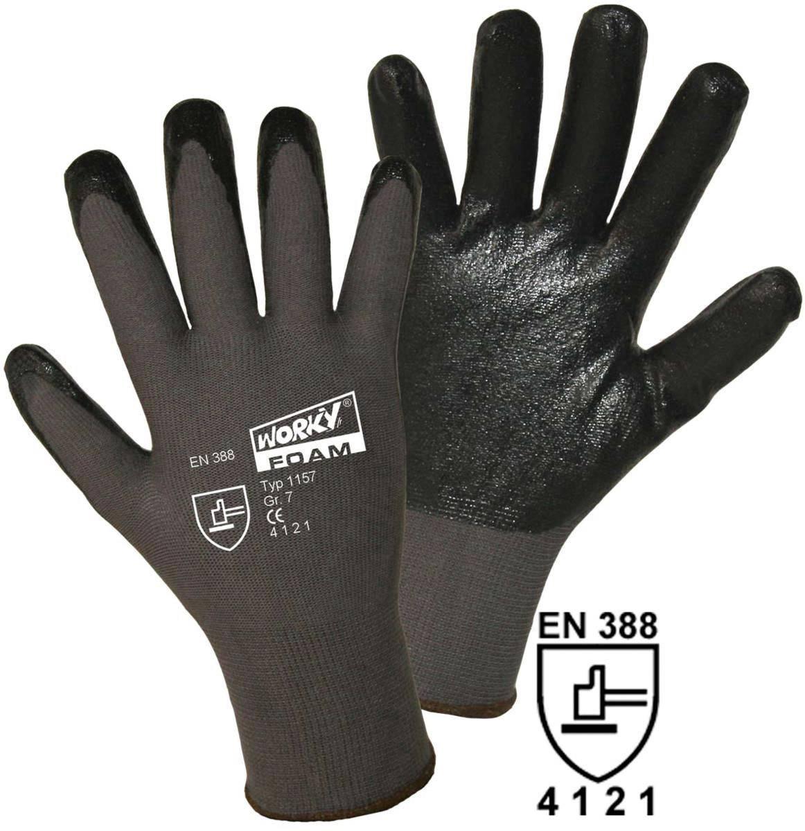 Pracovní rukavice jemně tkané worky FOAM Nylon-Nitril 1157 10, XL