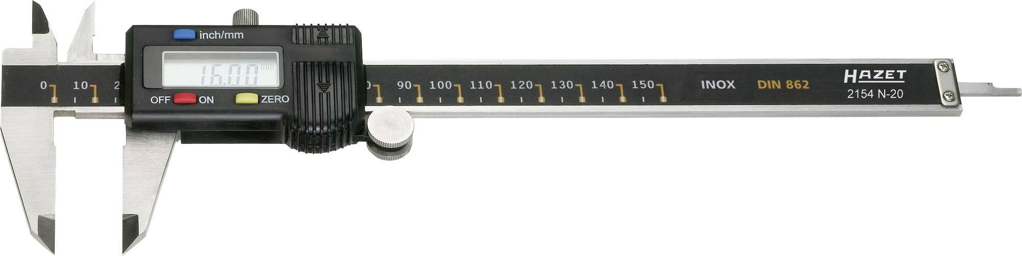 Digitální posuvné měřítko Hazet 2154N-20, měřicí rozsah 150 mm, Kalibrováno dle bez certifikátu