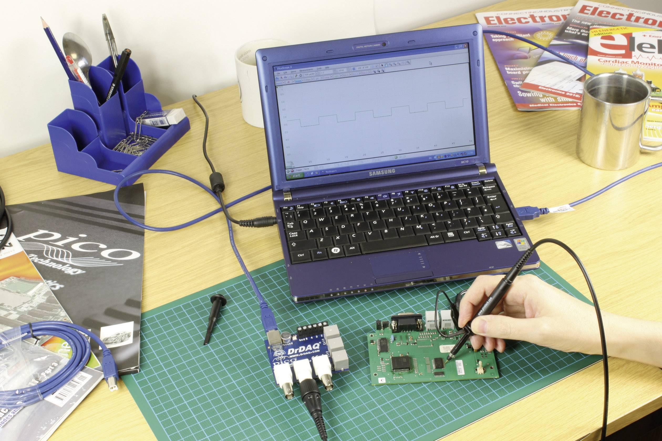 Datalogger s meraním pH a teploty, osciloskop, signálový generátor pico