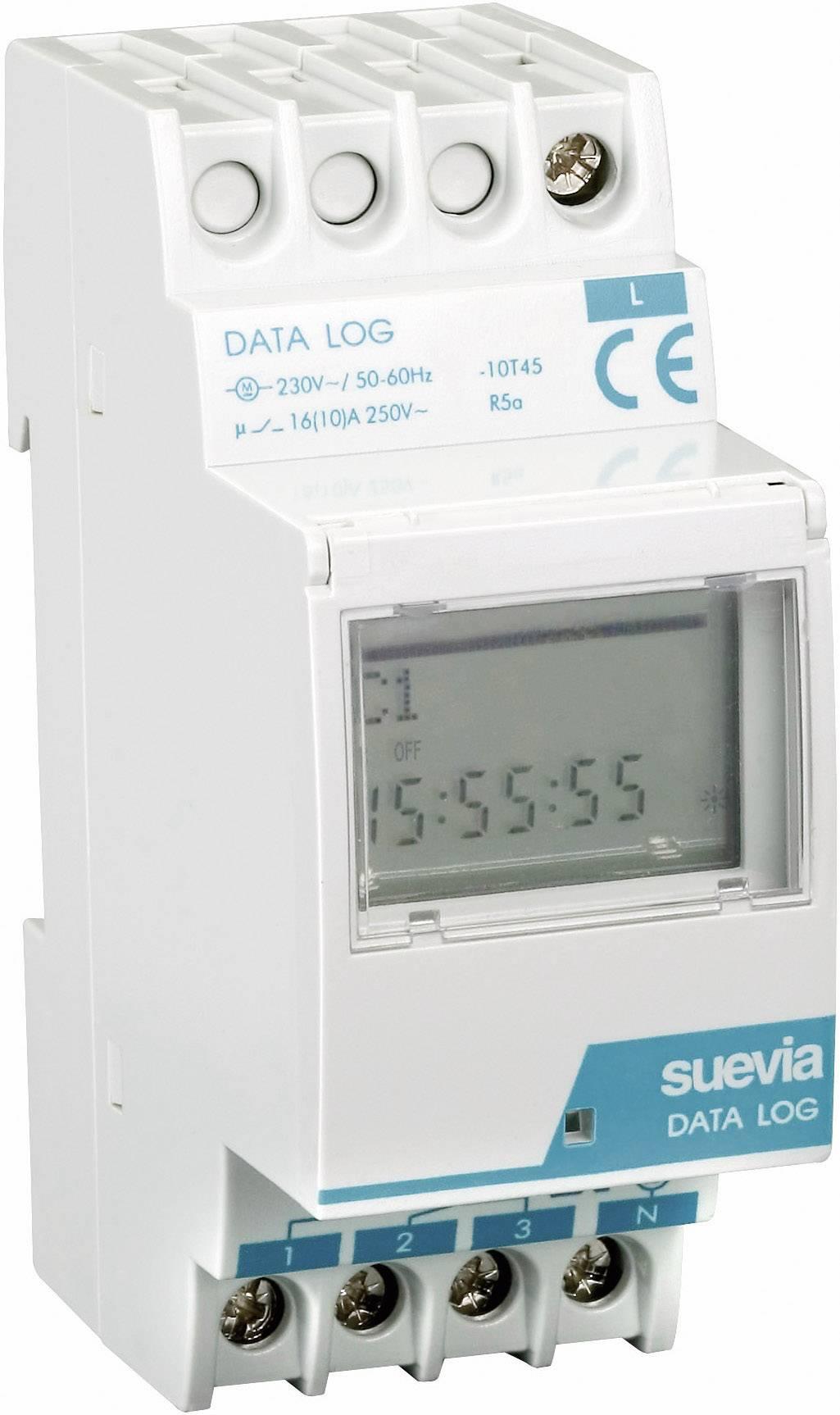 Časovač na DIN lištu Suevia Data Log I, 230 V/AC, 16 A/250 V