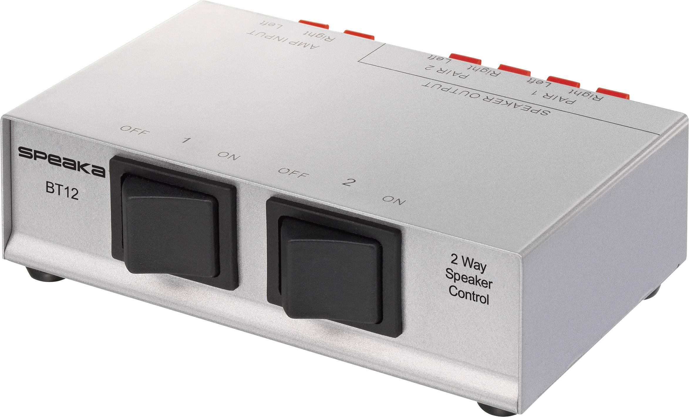 Prepínač reproduktorov SpeaKa Professional 1285755, s 2 portmi, strieborná