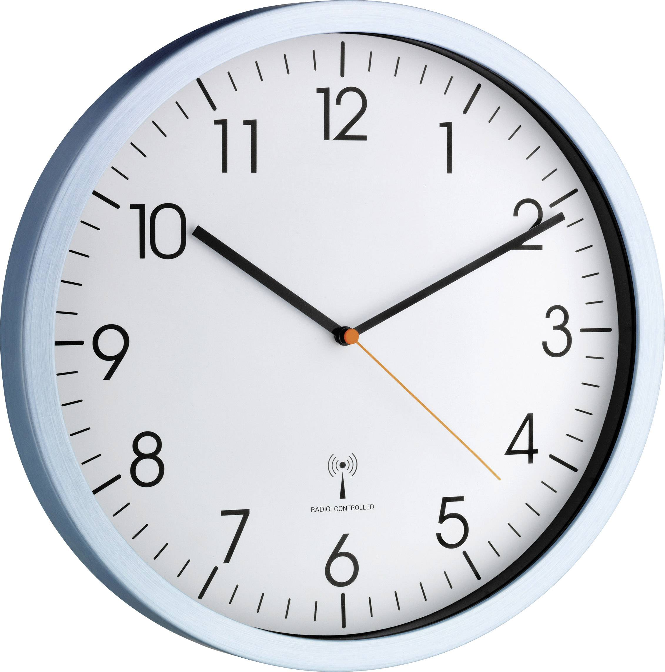 DCF nástěnné hodiny TFA 60.3517.55, (Ø x h) 30,8 cm x 4,5 cm, hliník (matný)