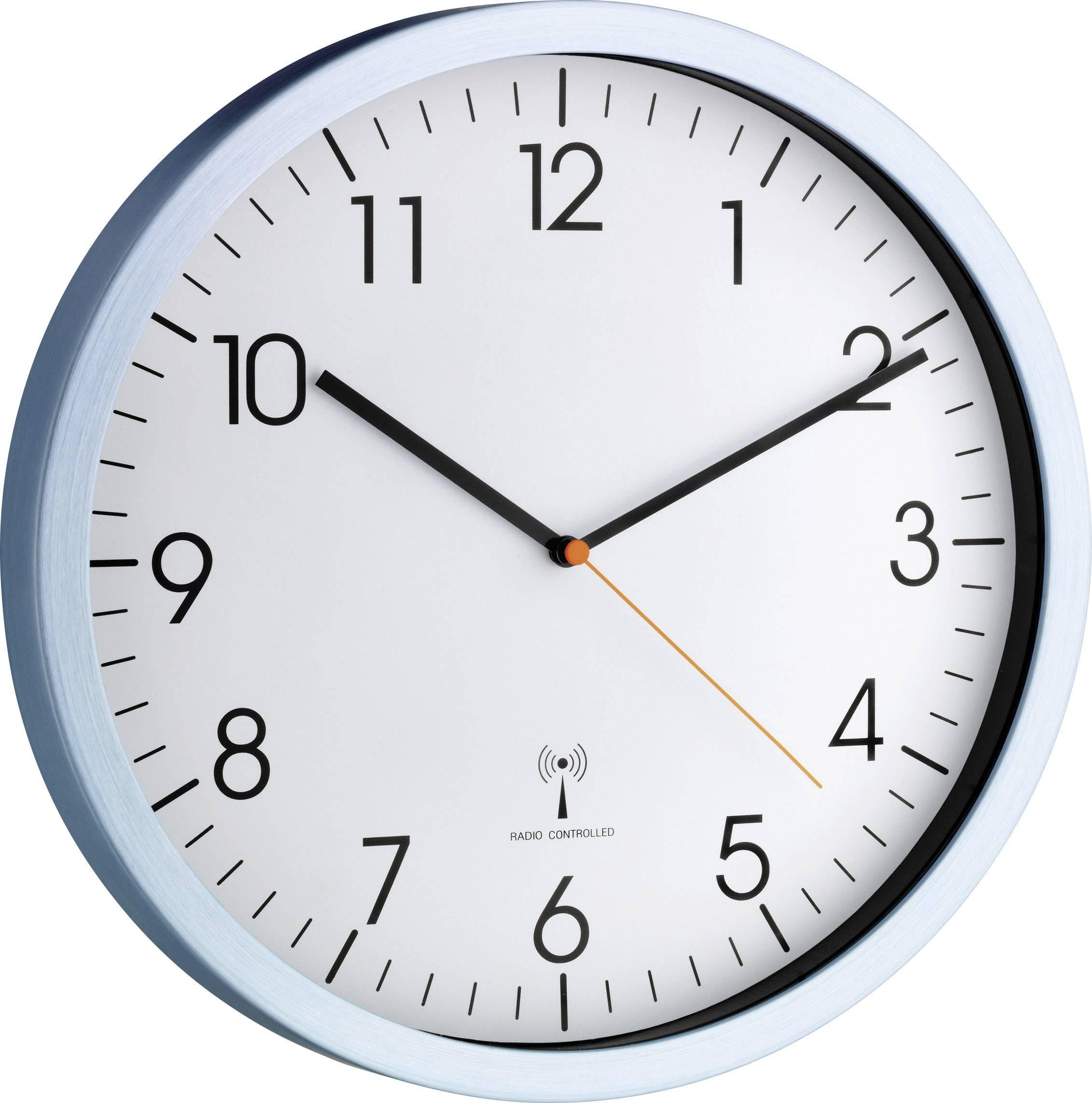 DCF nástenné hodiny TFA 60.3517.55 60.3517.55, vonkajší Ø 30.5 cm, hliník (matný)