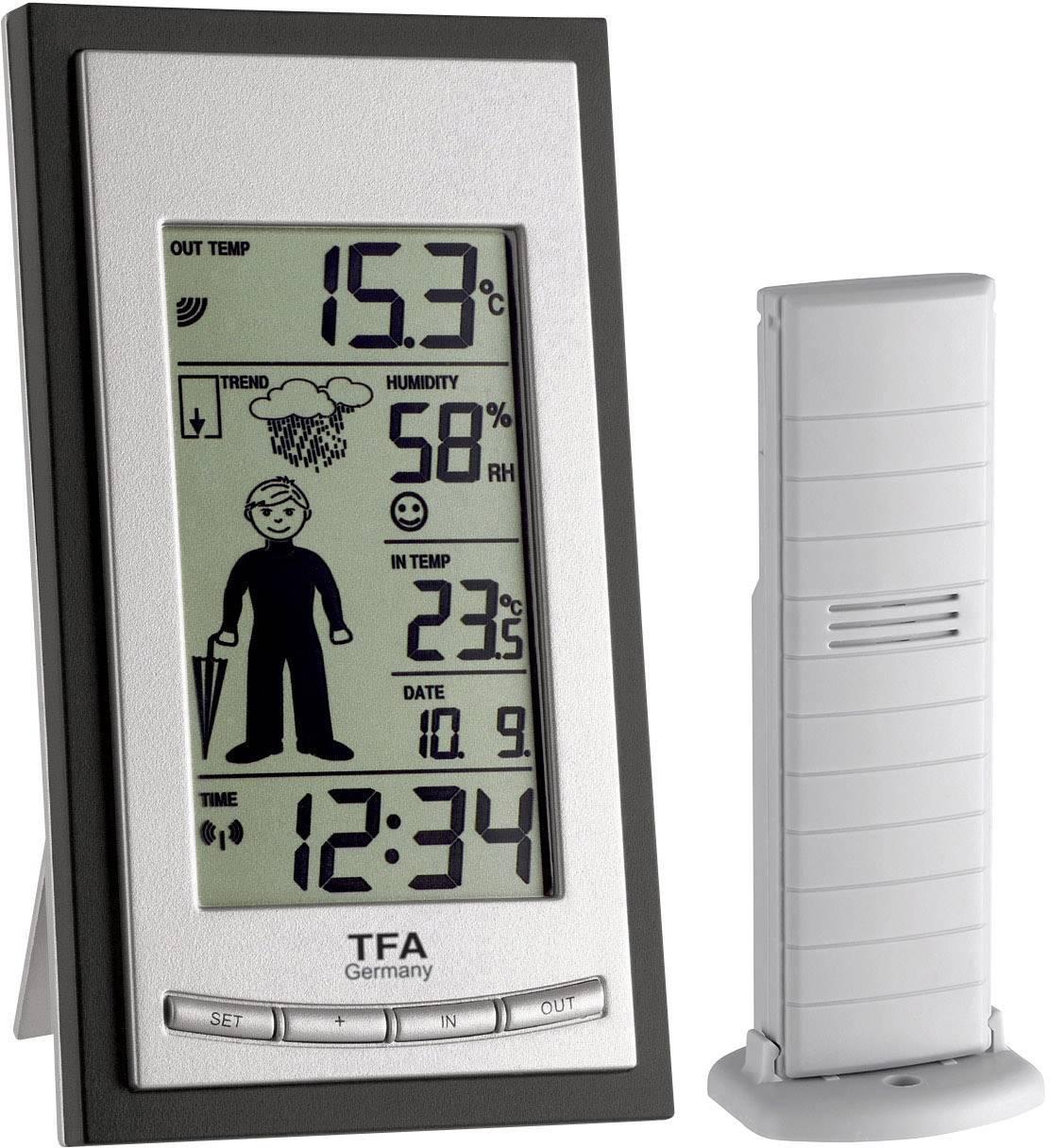 Digitálna bezdrôtová meteostanica TFA Weather Boy 35.1084, max. dosah 100 m, čierna