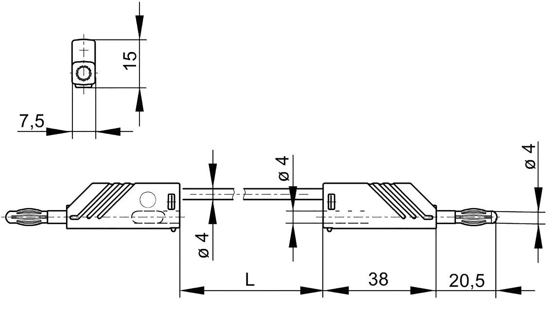 Merací kábel Hirschmann CO MLN 25/2, 5 mm², 4 mm, žltý/zelený