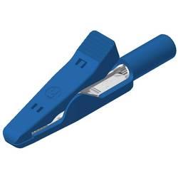 Měřicí krokosvorka Hirschmann MA 1, poniklovaná mosaz, 2 mm , modrá