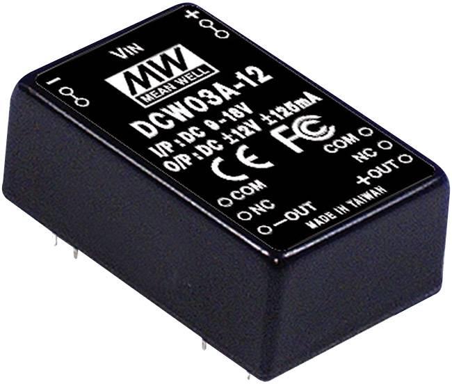 DC/DC měnič MeanWell DCW03B-05, +/-5 V/DC 300 mA, 3 W