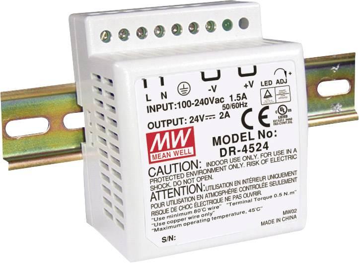 Sieťový zdroj na DIN lištu Mean Well DR-4515 15 V / DC 2.8 A 42 W 1 x
