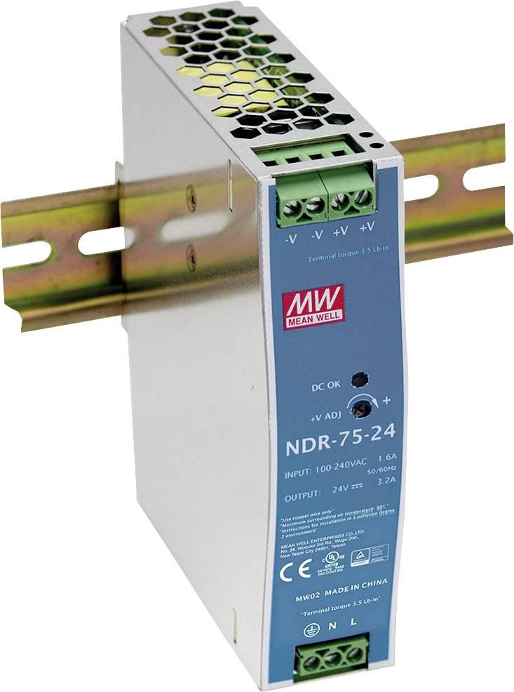 Sieťový zdroj na DIN lištu Mean Well NDR-75-12 12 V / DC 6.3 A 75 W 1 x