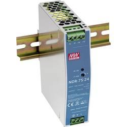 Sieťový zdroj na DIN lištu Mean Well NDR-75-48 48 V / DC 1.6 A 75 W 1 x