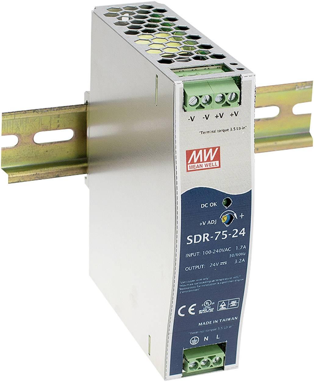 Sieťový zdroj na DIN lištu Mean Well SDR-75-24 24 V / DC 3.2 A 76 W 1 x