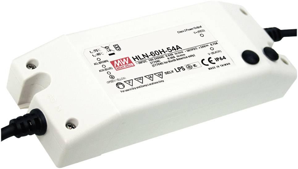 LED driver, napájecí zdroj pro LED Mean Well HLN-60H-42A, 60 W (max), 1.45 A, 25.2 - 42 V/DC