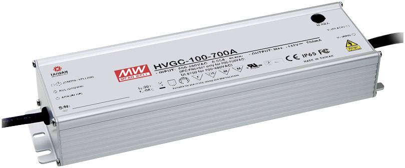 LED driver Mean Well HVGC-100-700A, 99 W (max), 0.7 A, 15 - 142 V/DC