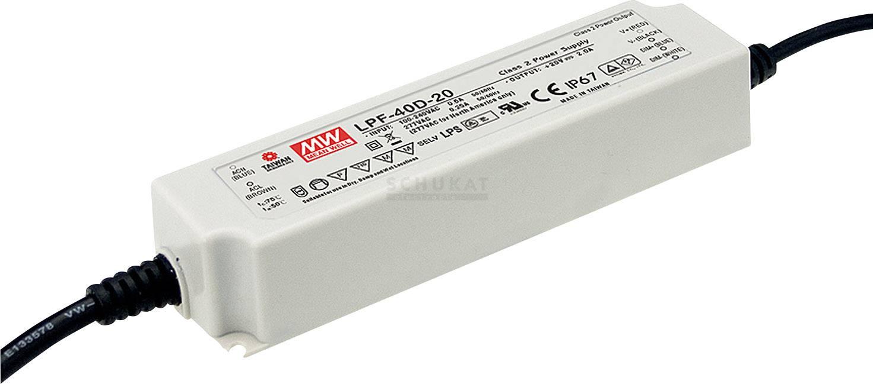 LED driver, napájecí zdroj pro LED Mean Well LPF-40D-48, 40 W (max), 0.84 A, 28.8 - 48 V/DC