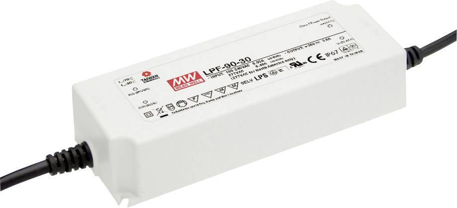 LED driver, napájecí zdroj pro LED Mean Well LPF-90-54, 90 W (max), 1.67 A, 32.4 - 54 V/DC