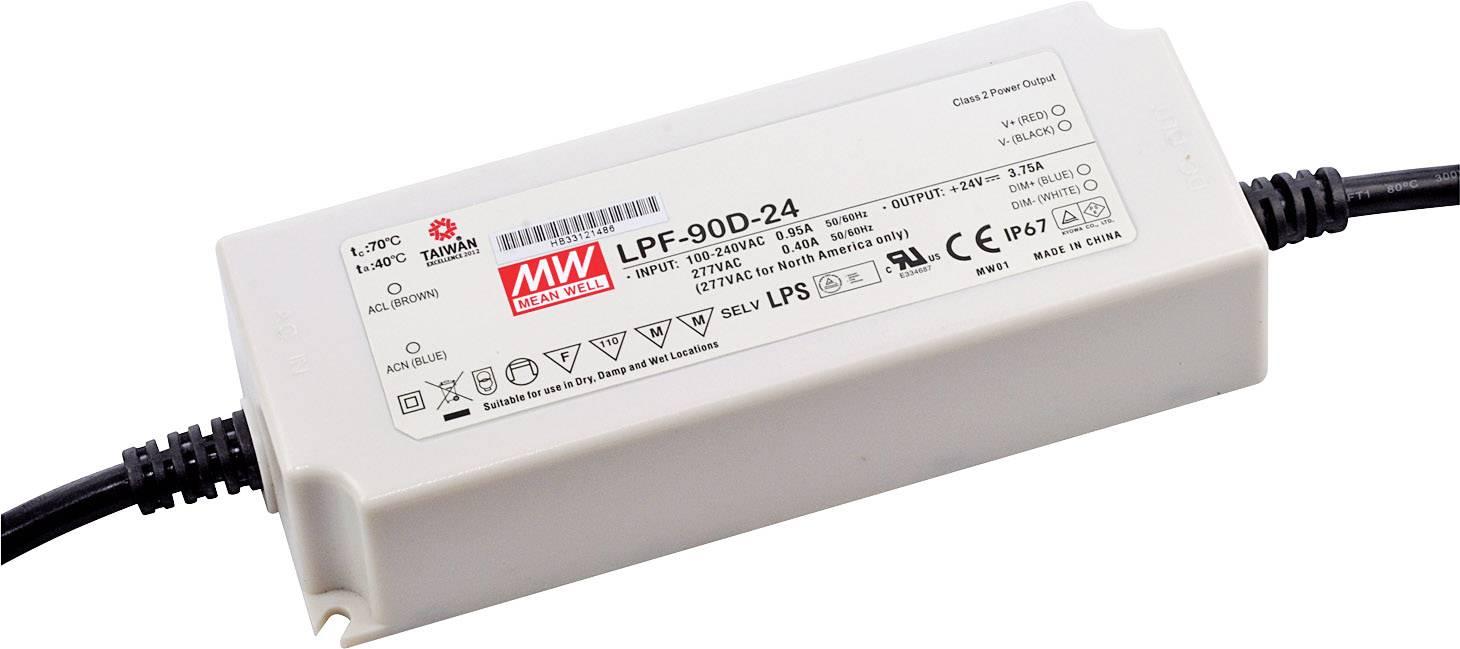 LED driver, napájecí zdroj pro LED Mean Well LPF-90D-54, 90 W (max), 1.67 A, 32.4 - 54 V/DC