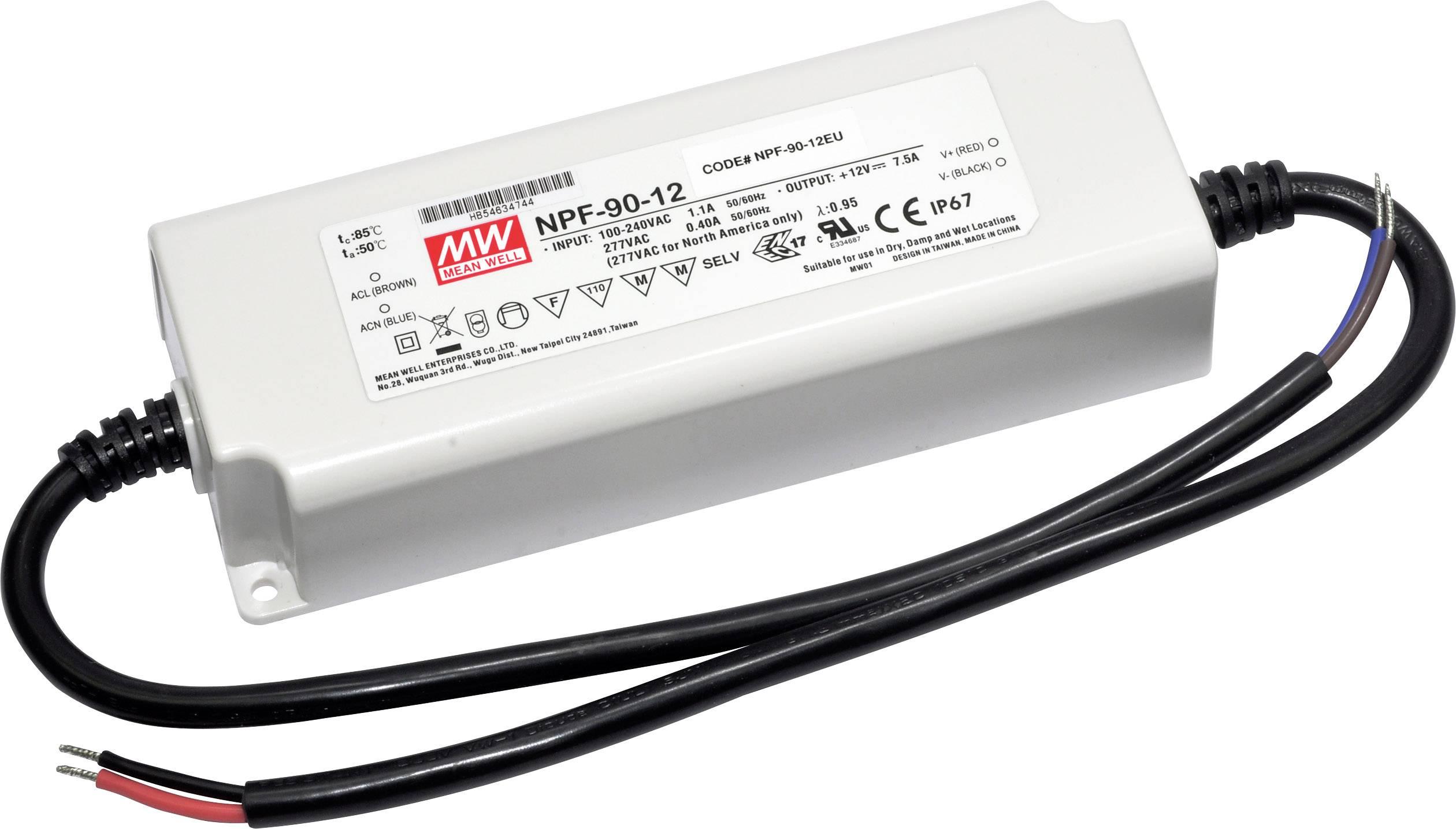 LED driver, napájecí zdroj pro LED Mean Well NPF-90D-54, 90 W (max), 1.67 A, 32.4 - 54 V/DC