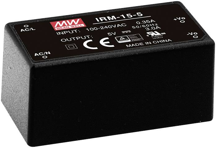 AC/DC zdroj do DPS Mean Well IRM-15-12, 12 V/DC, 1.25 A, 15 W