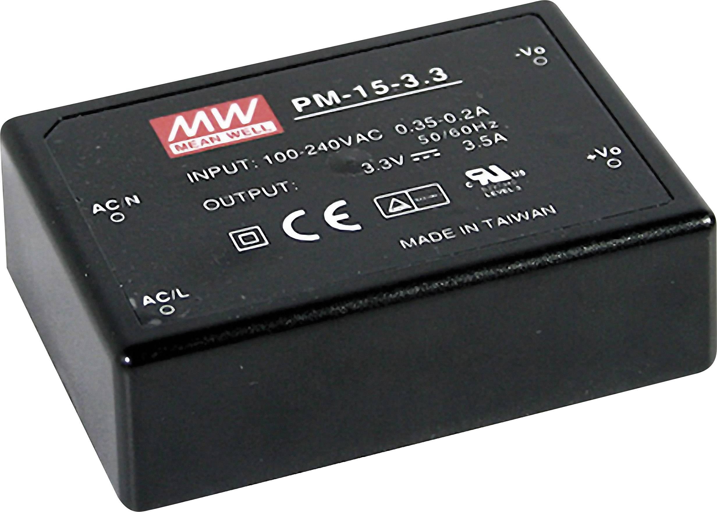 AC/DC zdroj do DPS Mean Well PM-15-24, 24 V/DC, 0.63 A, 15 W
