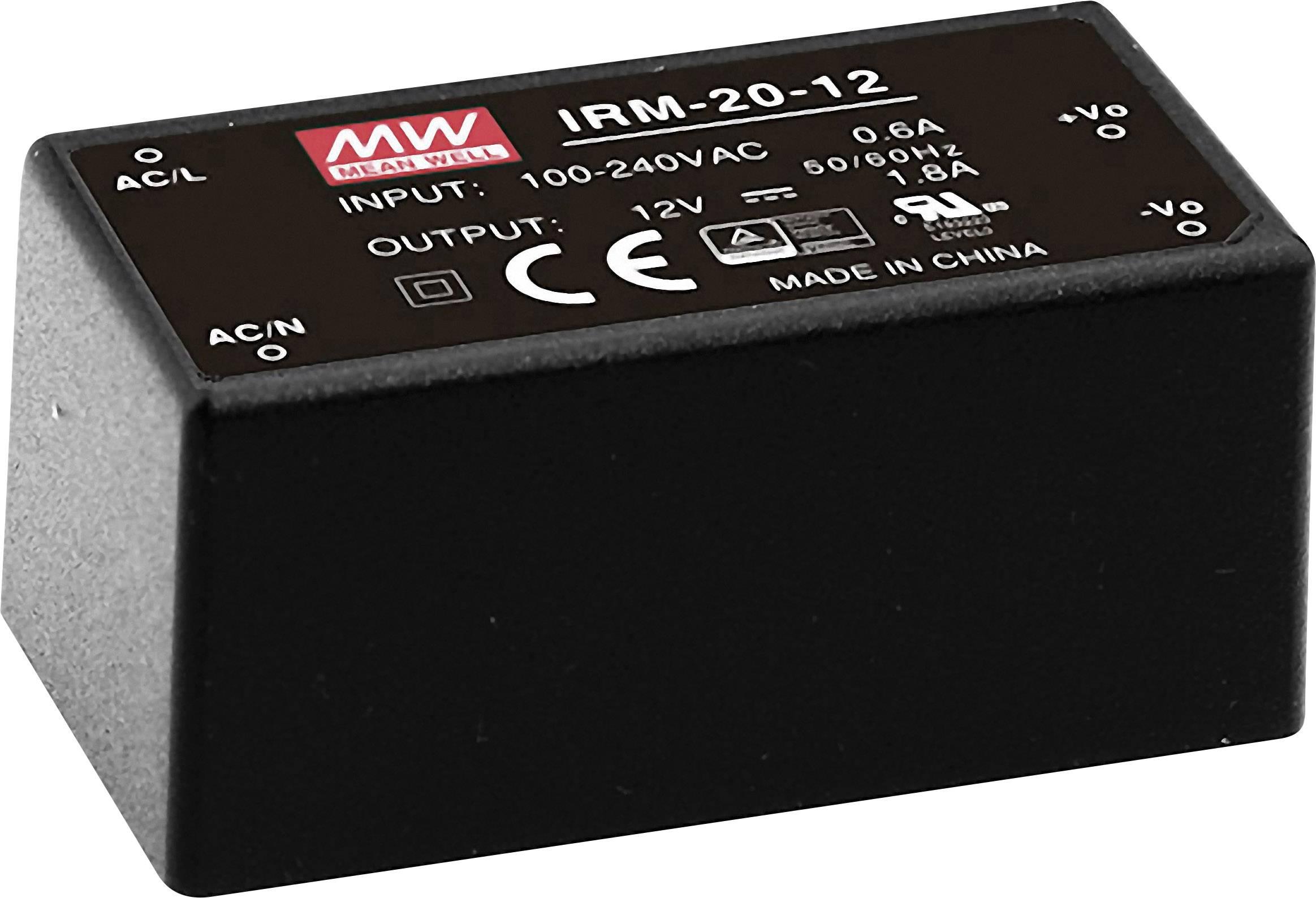 AC/DC zdroj do DPS Mean Well IRM-20-12, 12 V/DC, 1.8 A, 21.6 W
