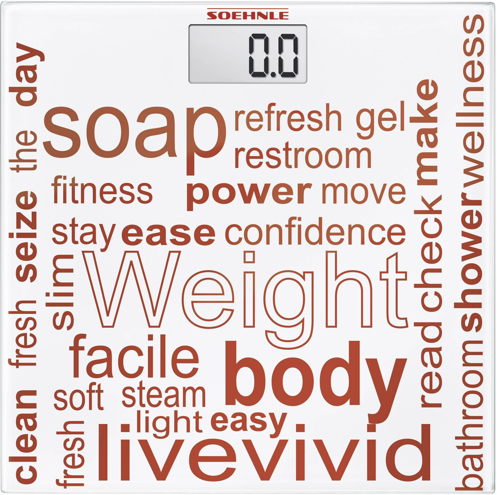 Digitální osobní váha Soehnle Jolly digital, max. váživost 180 kg, bílá, tmavě červená