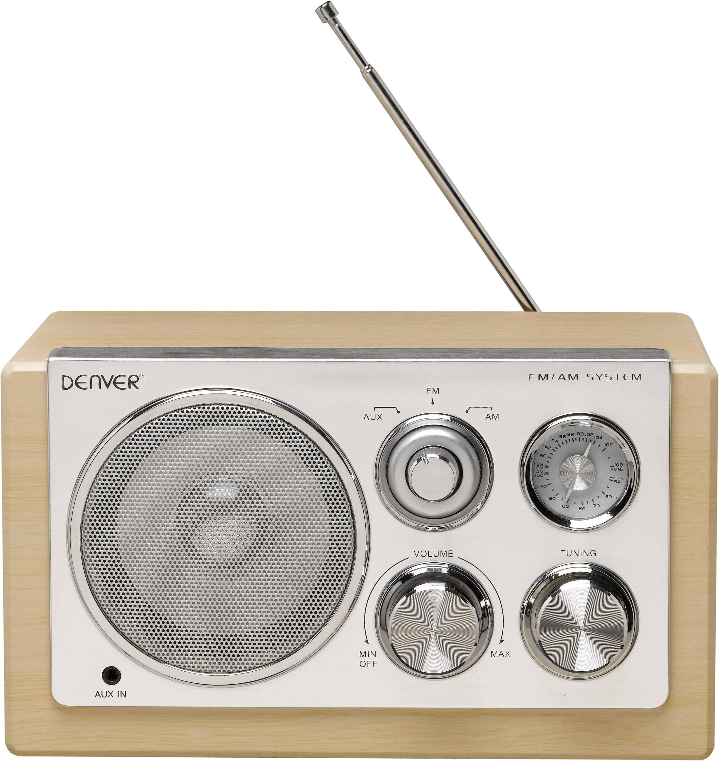 FM stolné rádio Denver TR-61, AUX, MW, UKW, drevo