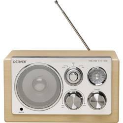 Stolní rádio Denver TR-61, AUX, dřevo