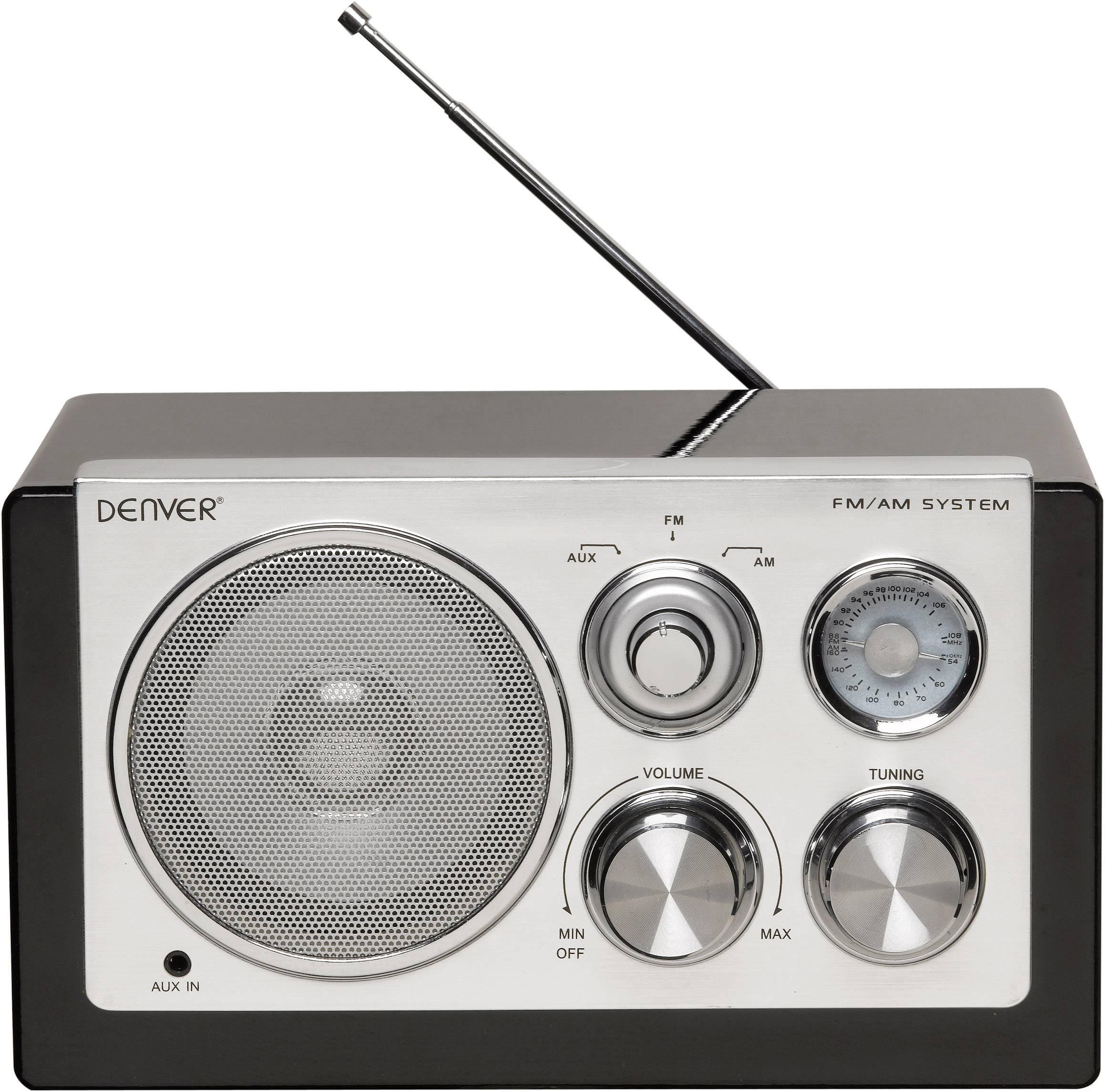 FM stolní rádio Denver TR-61, AUX, SV, FM, černá, stříbrná