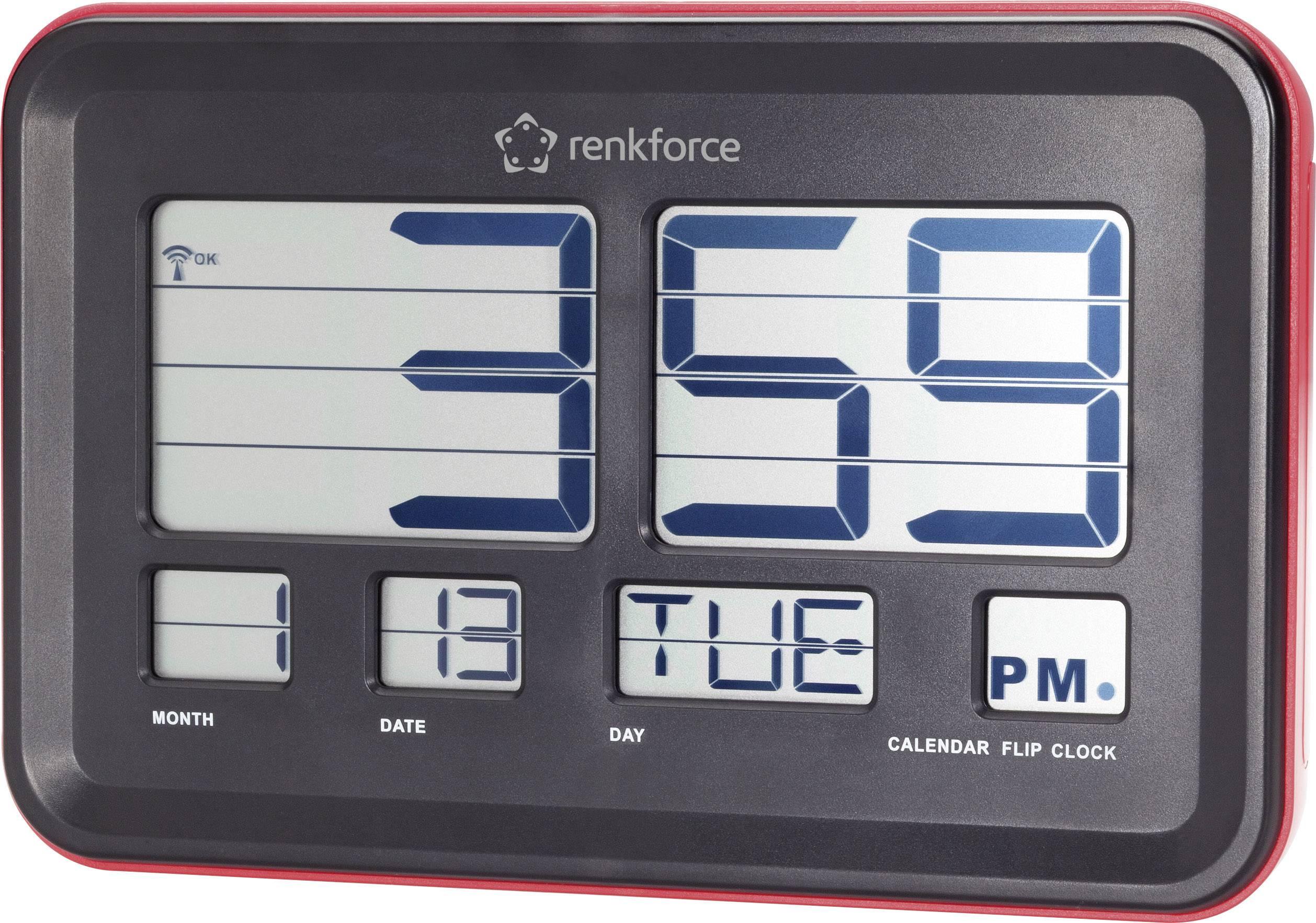 DCF nástenné hodiny s preklápacími číslicami Renkforce A541, 45 mm x 222 mm x 144 mm , červená