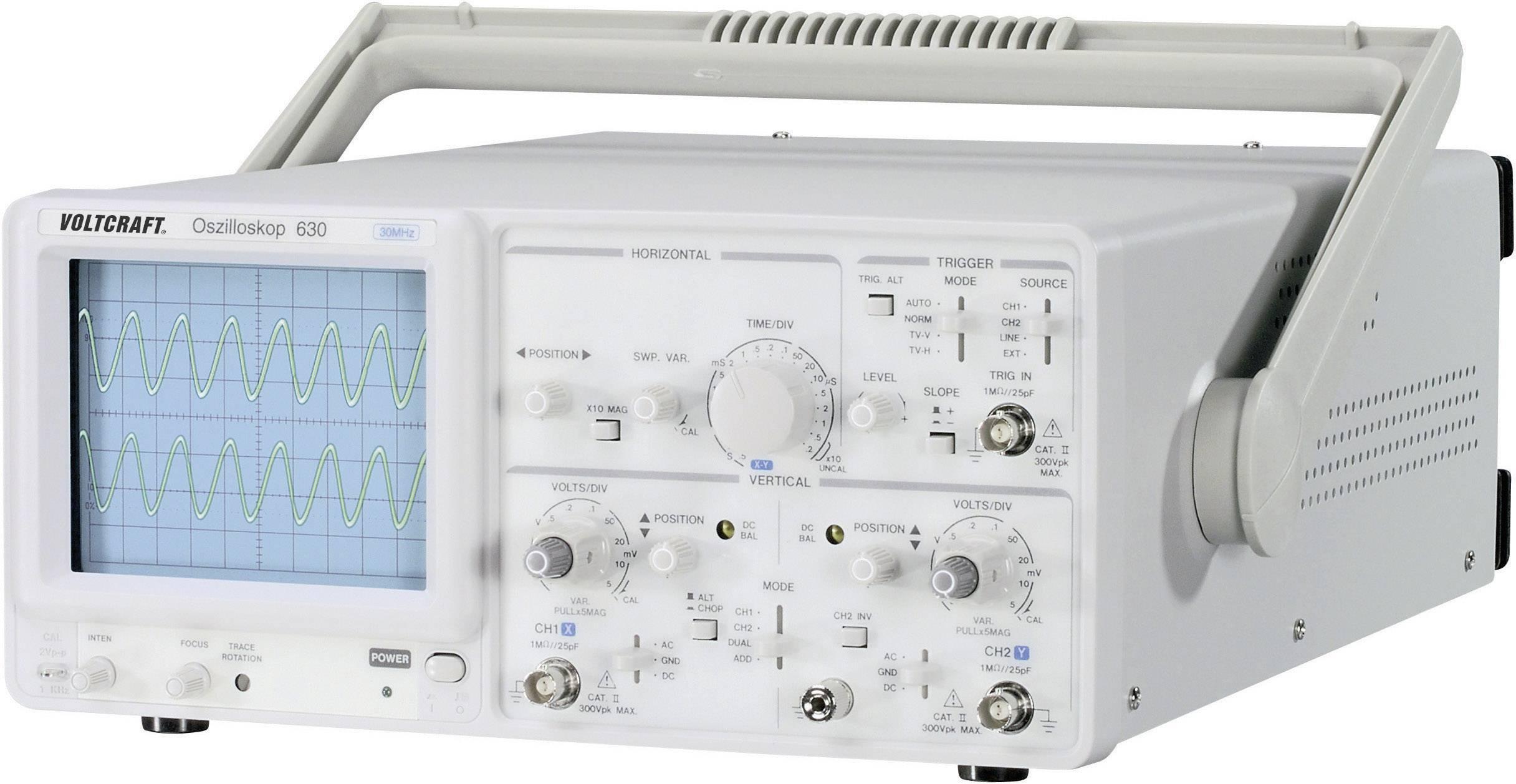 Analógový osciloskop VOLTCRAFT VC 630-2, 30 MHz, 2-kanálový