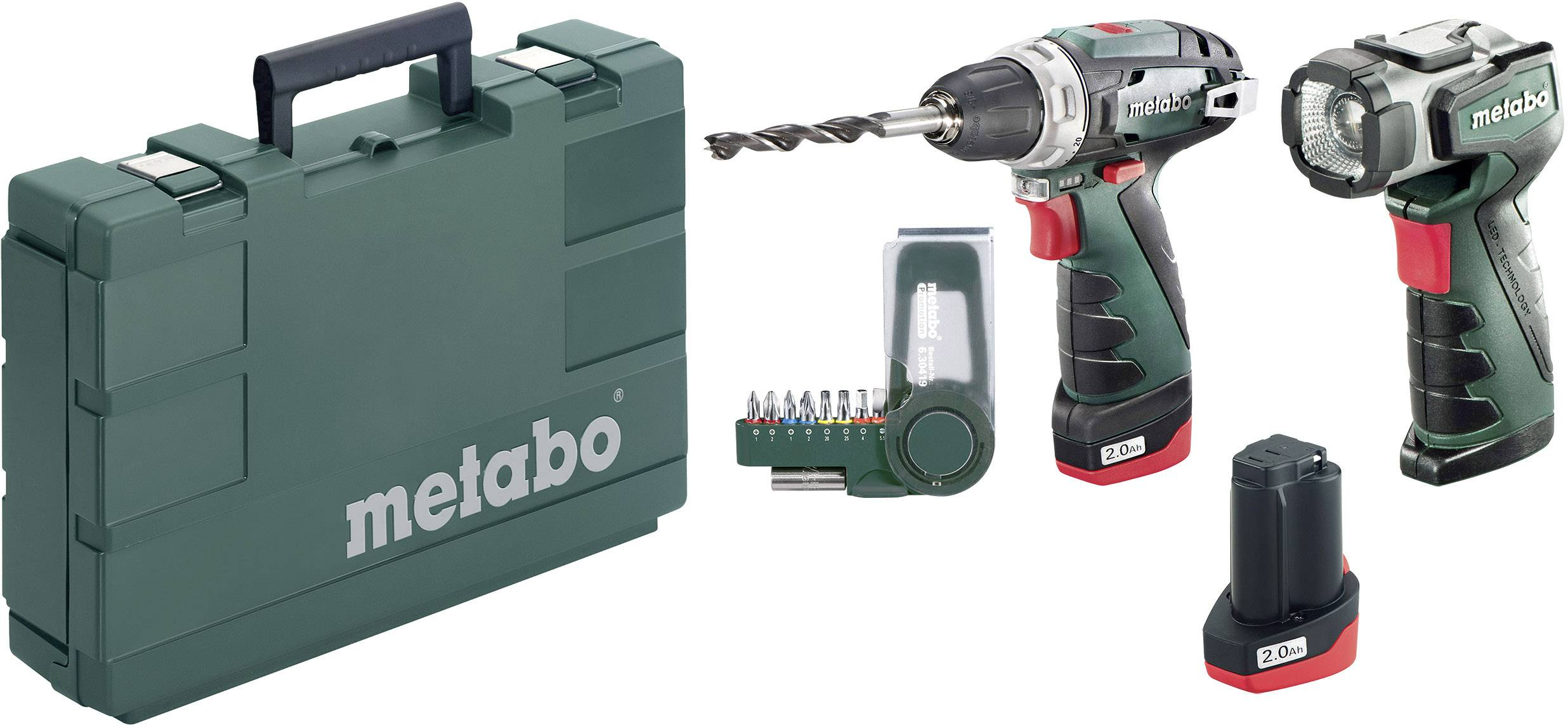 Aku vŕtací skrutkovač Metabo PowerMaxx BS Basic Set 600080530, 10.8 V, 2 Ah, Li-Ion akumulátor