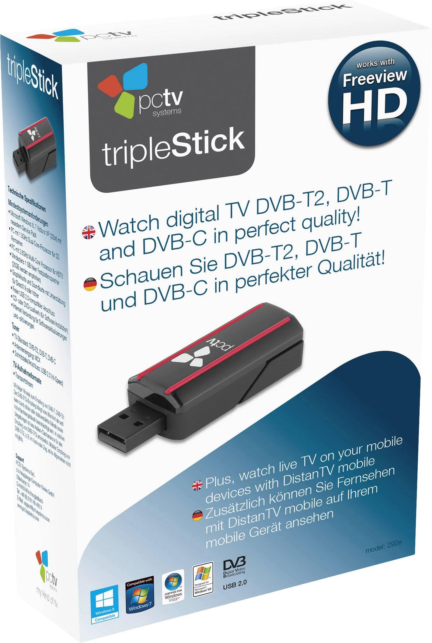 USB televizní DVB-T tuner PCTV Systems Triple Stick s dálkovým ovládáním