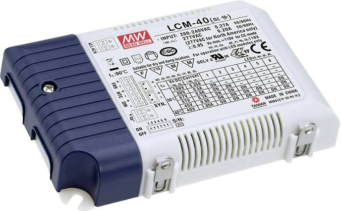 LED driver Mean Well LCM-40, 42 W (max), 0.35 - 1.05 A, 2 - 80 V/DC