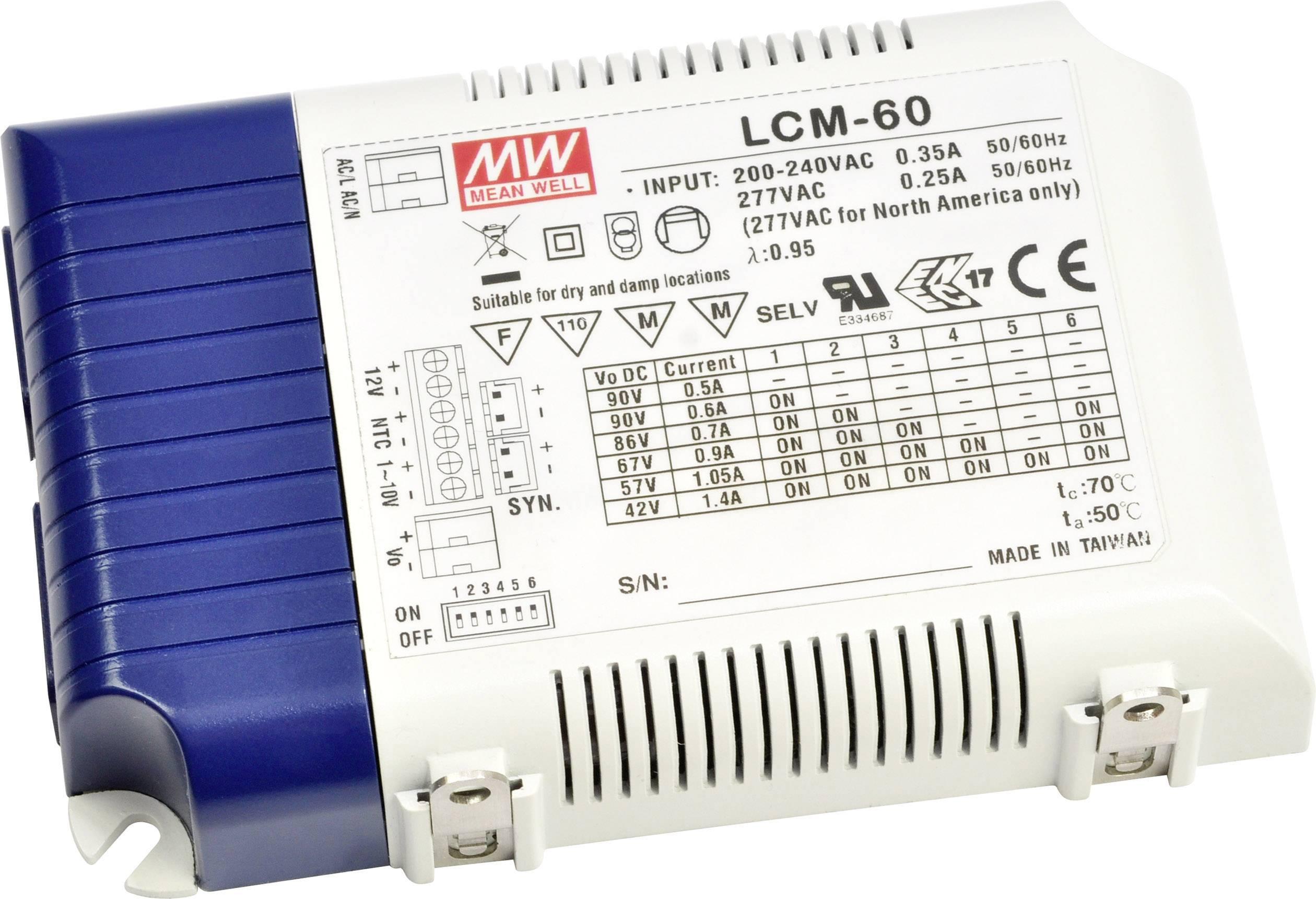 LED driver Mean Well LCM-60DA, 60 W (max), 0.5 - 1.4 A, 2 - 90 V/DC