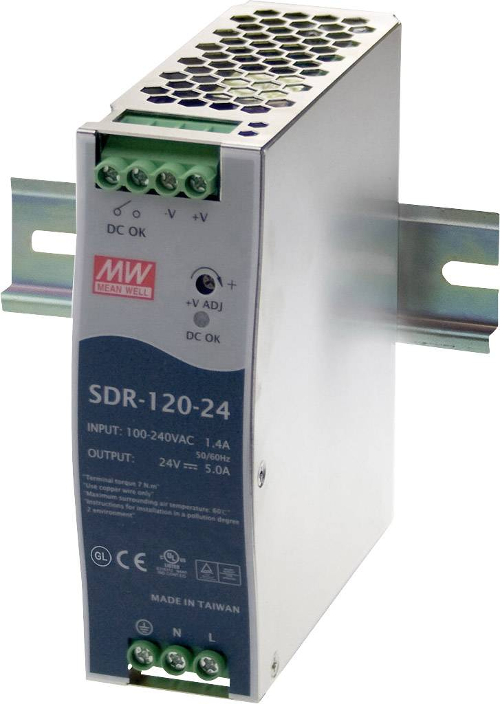 Sieťový zdroj na DIN lištu Mean Well SDR-120-24 24 V / DC 5 A 120 W 1 x