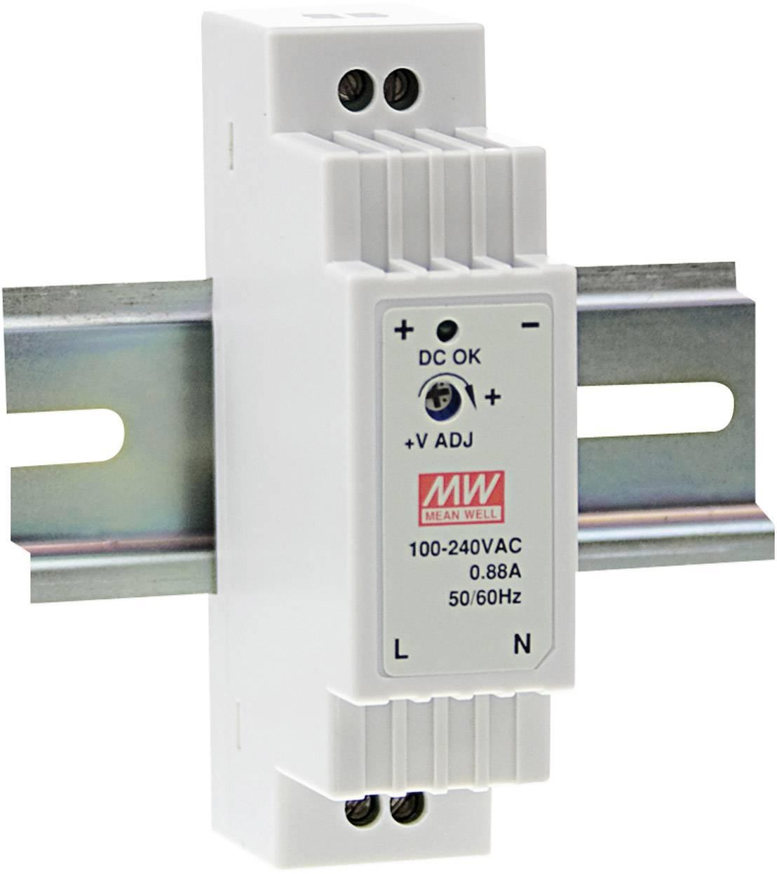 Sieťový zdroj na DIN lištu Mean Well DR-15-12 12 V / DC 1.25 A 15 W 1 x