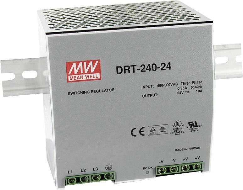 Síťový zdroj na DIN lištu Mean Well DRT-240-24, 1 x, 24 V/DC, 10 A, 240 W