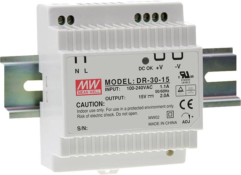 Síťový zdroj na DIN lištu Mean Well DR-30-5, 1 x, 5 V/DC, 3 A, 15 W