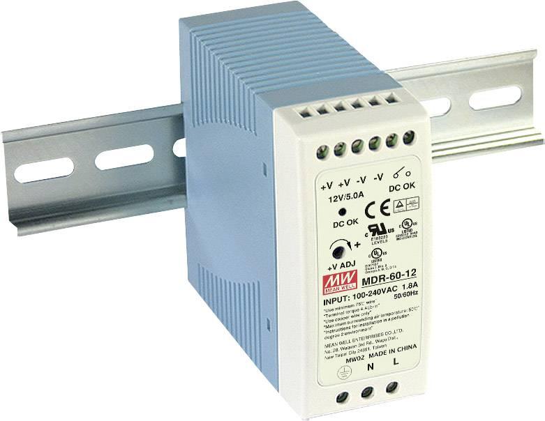 Síťový zdroj na DIN lištu Mean Well MDR-60-24, 1 x, 24 V/DC, 2.5 A, 60 W