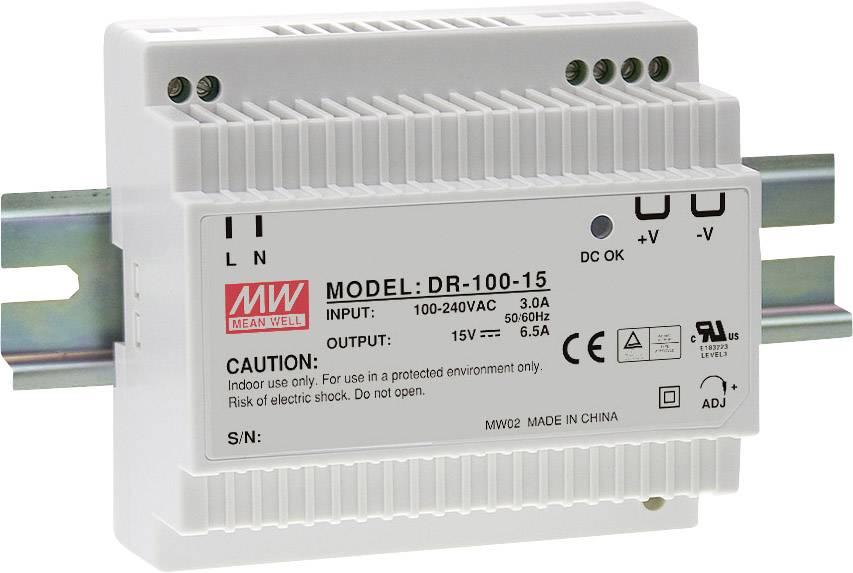 Sieťový zdroj na DIN lištu Mean Well DR-100-15 15 V / DC 6.5 A 97 W 1 x