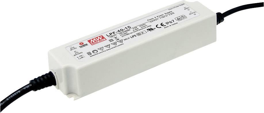 LED driver, napájecí zdroj pro LED Mean Well LPF-40-36, 40 W (max), 1.12 A, 21.6 - 36 V/DC