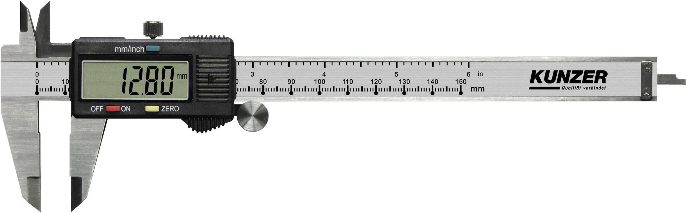 Digitální posuvné měřítko Kunzer 7EMS01, měřicí rozsah 150 mm, Kalibrováno dle bez certifikátu