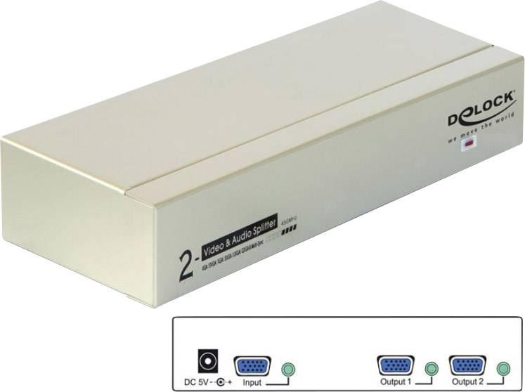 VGA rozbočovač Delock 87654, 2 porty, šedá