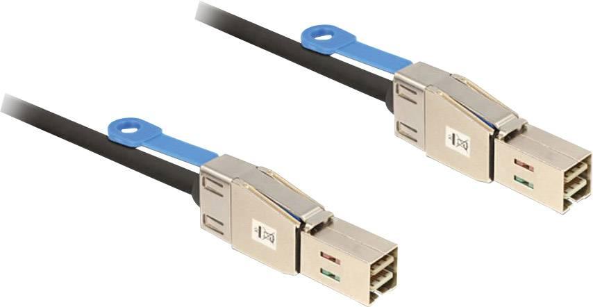 Připojovací kabel pro pevné disky Delock [1x zástrčka Mini-SAS (SFF-8644) – 1x zástrčka Mini-SAS (SFF-8644)], 1 m, černá