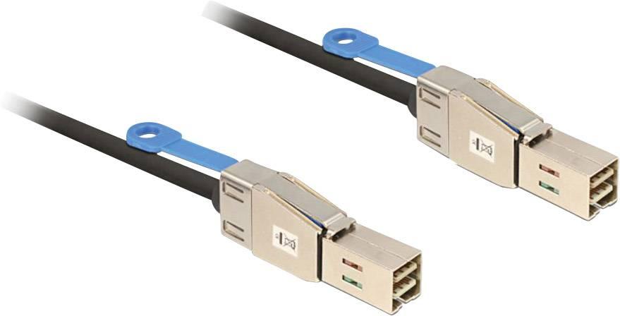 Připojovací kabel pro pevné disky Delock [1x zástrčka Mini-SAS (SFF-8644) – 1x zástrčka Mini-SAS (SFF-8644)], 2 m, černá