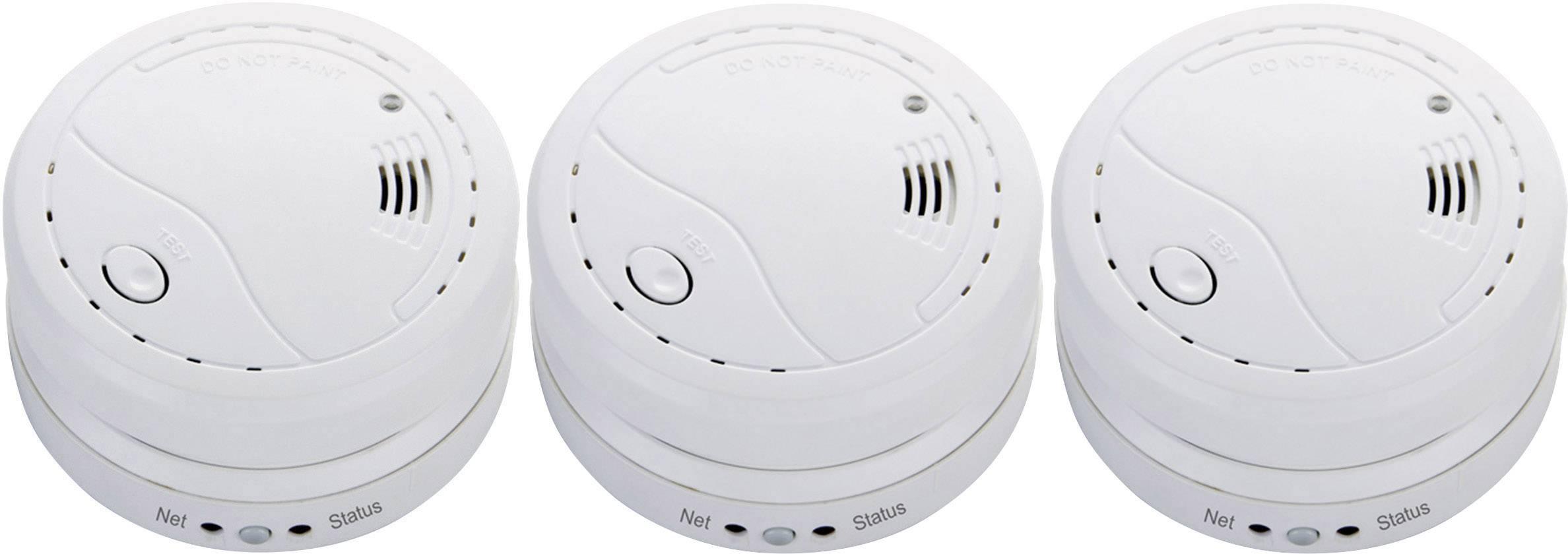 Bezdrôtový detektor dymu Cordes CC-70, možnosť zapojenia do siete,na batérie, sada 3 ks